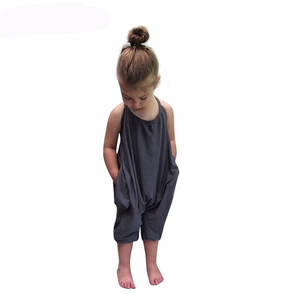 Darkyazi Baby Girls Cute Grey Summer Jumpsuits for Kids Backless Harem Strap Romper Jumpsuit Toddler Pants Size 2-8Y (3T, Grey)