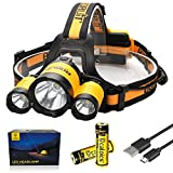 Boruit LED Headlamp 3xOriginal Cree XML T6 5000 Lumens Waterproof Headlight with Rechargeable 18650 Batteries Bright Adjustable Hands-Free Flashlight for Camping Hunting (RJ3000PLUS Yellow)