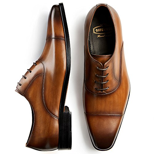 GIFENNSE Men's Classic Modern Oxford Wingtip Lace Dress Shoes (10 D(M) US, Brown) by GIFENNSE
