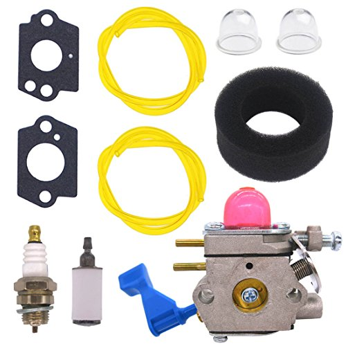 (NIMTEK Carburetor with Air Filter Spark Plug Fuel Filter Repower Kit for ZAMA C1U-W13 C1U-W13A For Poulan Weed Eater GHT220 GHT220LE GHT180 GHT180LE Replace # 530071601 530071633 Hedge Trimmer Carb)