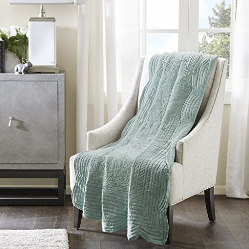 Tuscany Oversized Quilted Throw with Scalloped Edges Seafoam - Green Floral Blanket