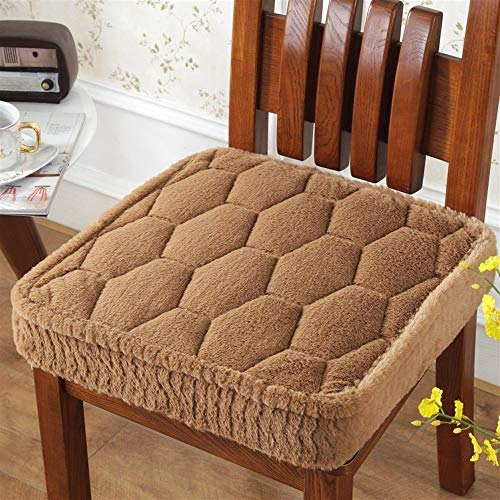 AINIYF Crystal Velvet Seat Cushion Soft Indoor Home Garden Patio Home Cushion Kitchen Office Square Cotton Buttocks Chair Pads, Comfortable and Breathable/20x20x4.7inches (Color : Brown)
