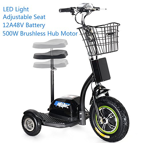 (SAY YEAH Electric Bike 500W Brushless Hub Motor Scooter,3 Wheel Sit/Stand Tricycle, Adult Mobility Scooters, LED Light and Blasket,Man and Womann Scooter)