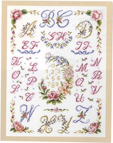(DMC Cross Stitch Kit - Floral Samplers - Floral Wreath And Festoons ABC)