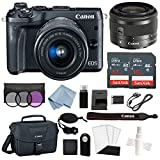 Cheap Canon EOS M6 Digital Camera (Black) with EF-M 15–45mm f/3.5–6.3 is STM Lens + Advanced Accessory Bundle – Includes to Get Started