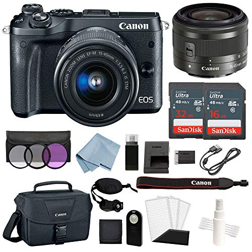 Canon EOS M6 Digital Camera (Black) with EF-M 1545mm f/3.56.3 is STM Lens + Advanced Accessory Bundle - Includes to Get Started