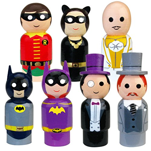Bif Bang Pow! Batman Classic TV Series Pin Mate Wooden Figure Set of 7 Collectible, 2""