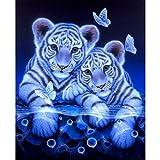 DIY 5D Diamond Painting Kit, Staron Diamond Painting Drill Animals Tiger Embroidery Arts Craft Cross Stitch Home Wall Decor (Tigers)