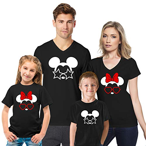 Cali Trend Station Mickey Mouse Minnie Mouse Star Heart Sunglasses Family Vacation 2019 Magic Kingdom Couple Matching V Neck T Shirts for Men Women Youth Kids Cotton Shirts Black Kids ()