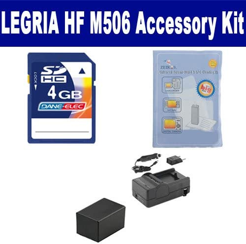 ACD786 Battery SDM-1556 Charger Canon LEGRIA HF M506 Camcorder Accessory Kit includes: ZELCKSG Care /& Cleaning KSD4GB Memory Card
