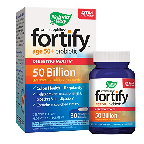 Nature's Way Primadophilus Fortify Age 50+ Probiotic, Digestive Health*, Extra Strength, 50 Billion Active Cultures, Guaranteed Potency, Delayed Release, 30 Vegetarian Capsules, (Best Nature's Way Probiotics For Women)