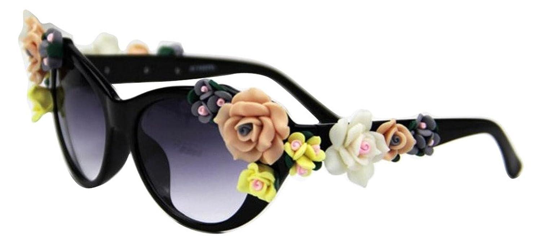 JYR Women Fashion Flower décoration Lunettes de soleil Charmming Beach Shades Lady Lunettes de soleil - Noir fkMjMs9pY