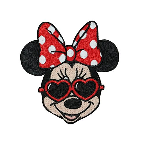 - Minnie Mouse Heart Shades Iron On Applique Fan DIY Decoration Craft Patch