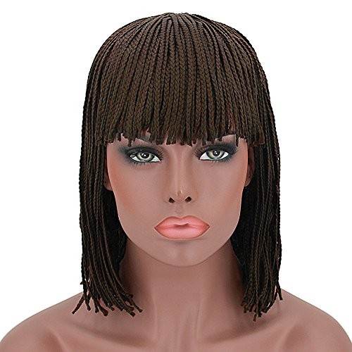 Beauty : Wigs for Women Brown Hair Short Bob Braided Wigs with Bangs Synthetic Hair Costume Wig with Wig Cap (12 inch) Z078BR