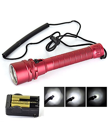 Unblemished Popular 100m 3x LED 6000Lm Diving Flashlight Swim Lamp Scuba Torch Underwater Color Red with Battery Charger (Ar15 To 22 Conversion Kit)