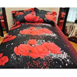 Hot Sale!DEESEE(TM)Duvet Set 3D Oil Painting Bed 3pcs Bedding Kit Duvet Cover Queen Color Red (B)