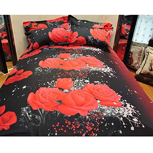 Hot Sale!DEESEE(TM)Duvet Set 3D Oil Painting Bed 3pcs Bedding Kit Duvet Cover Queen Color Red -