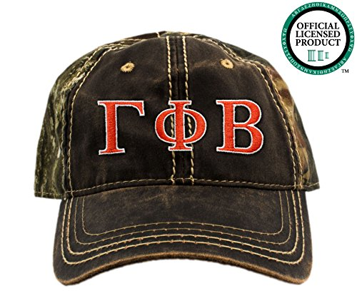 Gamma Phi Beta Embroidered Camo Baseball Hat, Various Thread Colors