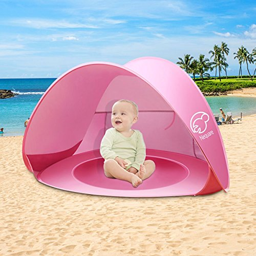 NEQUARE Baby Beach Tent, Portable Pop Up Baby Tent, UPF 50+ Summer Sun Shelters Shade, Sunscreen Beach Umbrella Baby Pool for Infant Baby(Pink) ()