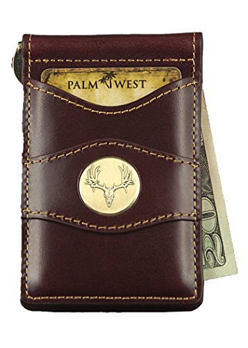 Denver Leather Chair - Palm West Leather Minimalist Leather Money Clip Wallet with RFID (Dark Cherry Leather, Mule Deer Horns Medallion)