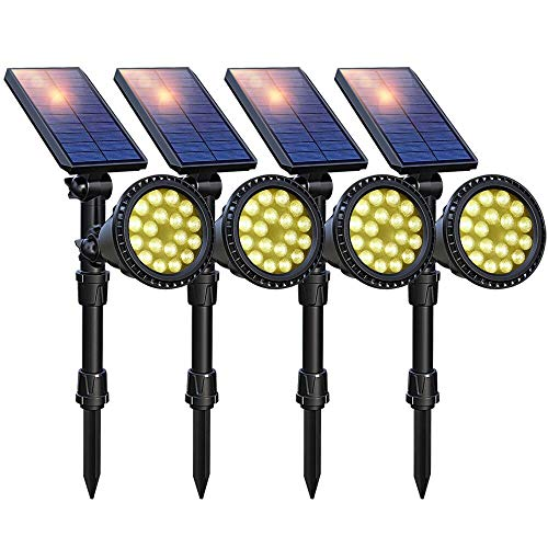DBF Solar Lights Outdoor Upgraded, 18 LED Waterproof Solar Landscape lights Solar Spotlight Wall Light Auto On/Off Wireless Landscape Lighting for Garden Yard Pathway Pool Area, Pack of 4 (Warm White)