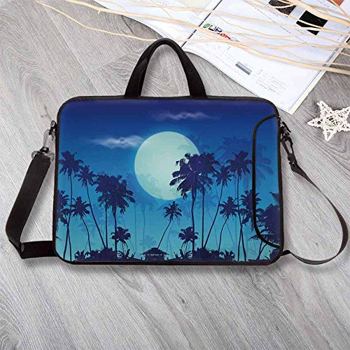 Dark Blue Custom Neoprene Laptop Bag,Big Full Moon Twilight Scenery Palm Silhouettes Tropical Island Laptop Bag for Men Women Students,15.4
