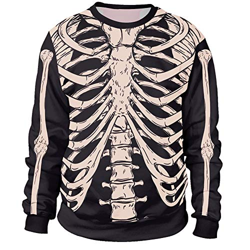 Arvilhill Halloween Costume Men's Skeleton Printed Sweatshirt Crewneck Scary Long Sleeve Jumper Chest 2XL -