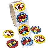 Fun Express Superhero Stickers (100 Stickers Per Roll)