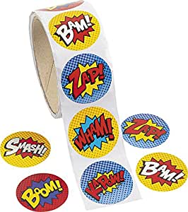 Fun Express Superhero Sticker Roll - 100 pieces…