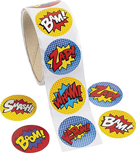 Fun Express Superhero Stickers (100 Stickers Per Roll)