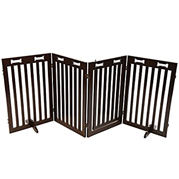 Arf Pets Free Standing Wood Dog Gate with Walk Through Door, Expands Up to 80 Wide, 31.5 High – Bonus Set of Foot Supporters Included – Upgraded 2019 Stronger Model