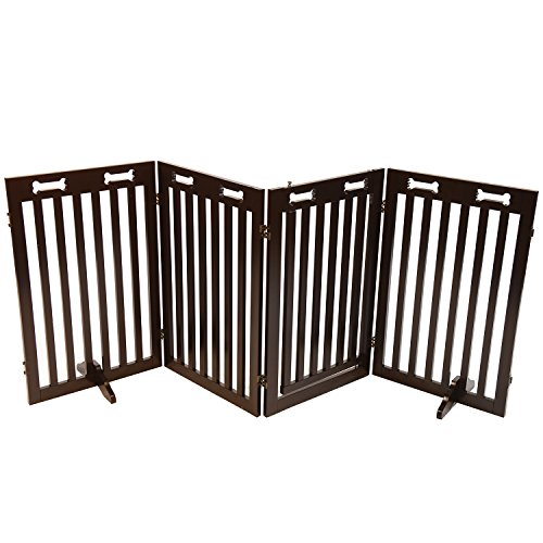 Arf-Pets-Free-Standing-Wood-Dog-Gate-with-Walk-Through-Door-Expands-Up-To-80-Wide-315-High-BONUS-Set-of-Foot-Supporters-Included