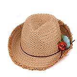 Lavenz Children sun hat for kids jazz caps pink fedora trilby girls flower casual solid summer beach sun paper straw hat