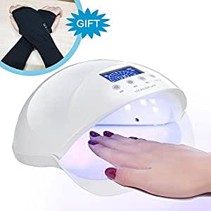 Best LED Gel Nail UV Light For Nails Polish Curing Plus Anti-UV Gloves Gift Kit, 48W Professional Quickly Harden Gel Nail Dryer Lamp With Motion Sensor