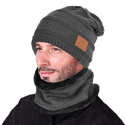 - VBIGER Beanie Hat Scarf Set Knit Hat Warm Thick Winter Hat For Men (New Grey)