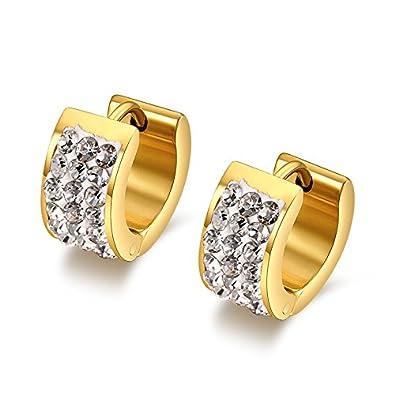 1c294e585 Amazon.com: Chryssa Youree 7MM Mens Womens Stainless Steel Hoop Earrings  Huggie Earrings CZ Inlaid Piercings Hypoallergenic(ED-45) (gold): Jewelry
