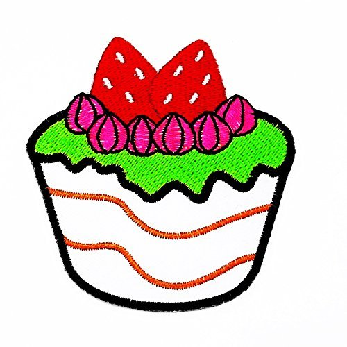 3 x 2.75 inches Cupcake Strawberry Cartoon Kids Children Cute Animal Patch for DIY Applique Iron on Patch T shirt Patch Sew Iron on Embroidered Badge Sign (Cupcake Halloween Costume Diy)