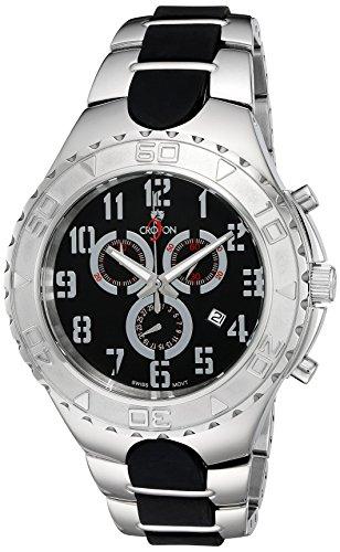 CROTON Men's CC311356SSBK SUPER Analog Display Quartz Two Tone Watch Croton Quartz Bracelet