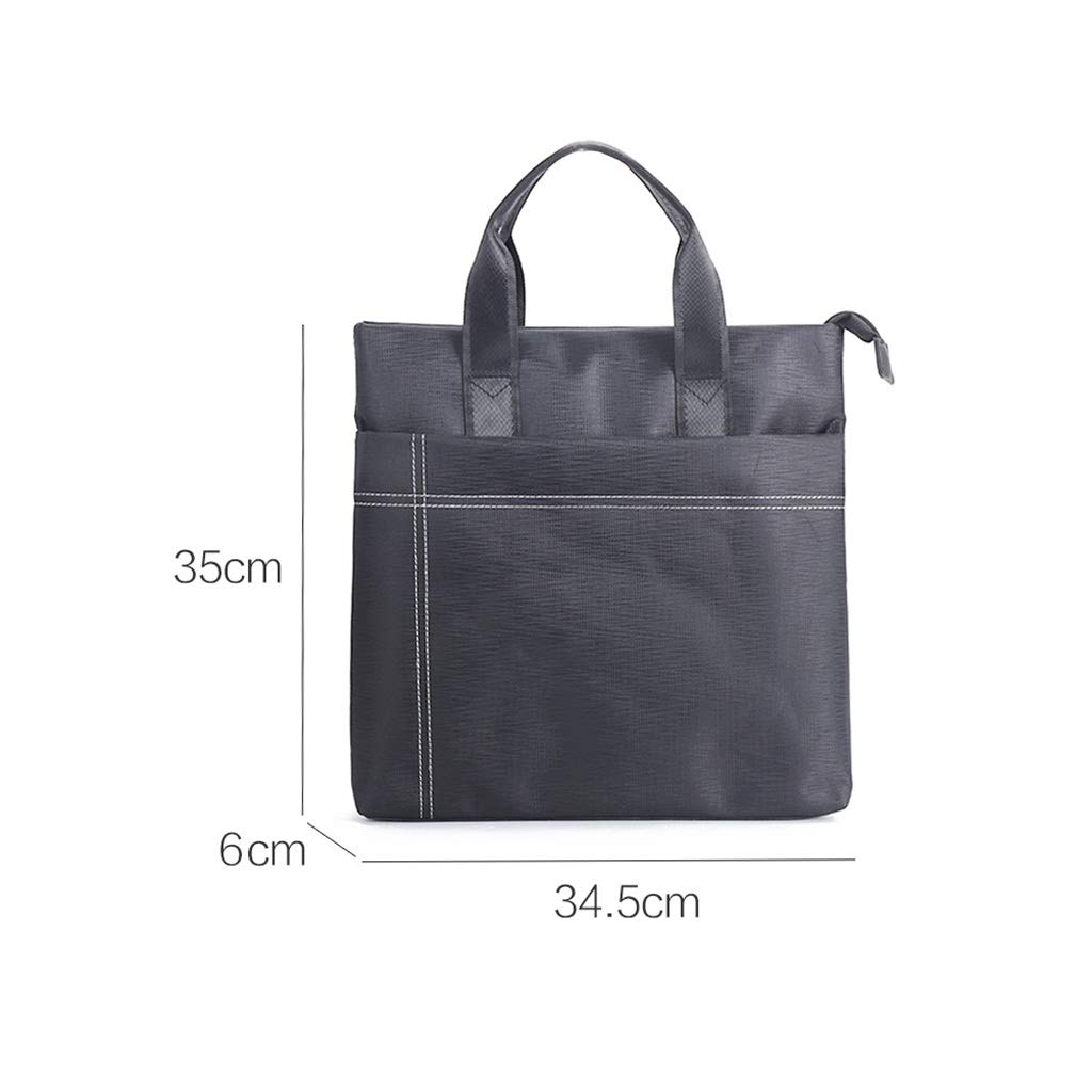 QSJY File Cabinets A4 Business Document Bag Zippered Canvas Official Document Bag Student Handbag and Bookbag 34.5x35x6cm (Color : Black, Size : 34.5x35x6cm) by QSJY File Cabinets