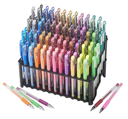 Amazon.com : ECR4Kids GelWriter Gel Pens Set Premium Multicolor set in  Stadium Stand (100-Count) : Office Products