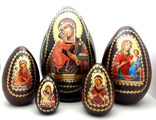 (Holy Mother RELIGIOUS Icon EGG 5 piece nesting doll set made in Russia WOOD / Easter Gifts)