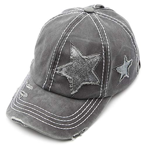 C.C Exclusives Hatsandscarf Washed Distressed Cotton Denim Ponytail Hat Adjustable Baseball Cap (BT-14) (Grey Glitter Stars)