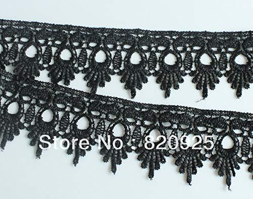 3Yds Black Polyester Daisy Venise Venice Lace Trim Cut Cutting Needlework Sewing Costume Craft Applique - Venise Daisy