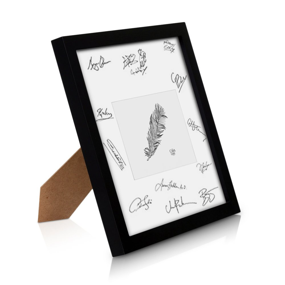 Classic by Casa Chic Solid Wood A1 Photo Frame Black - Picture Frame with Picture Mount for A2 Photo - Perspex Front - Frame Width 3 Centimetres
