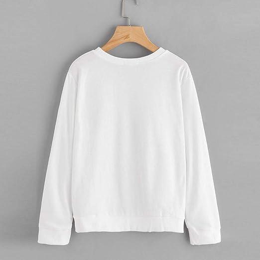 MEIbax Casual Chica Moda Mujer impresión Manga Larga Sudadera suéter Tops Blusa: Amazon.es: Ropa y accesorios