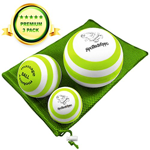 [Massage Ball - 3 Set - Deep Tissue Massage Therapy, Myofascial Release, Trigger Point Massager - Muscle Pain Relief, Muscle Knots Foam Ball, Self Massage Physical Therapy Ball (GREEN/WHITE)] (3 Ball Set)