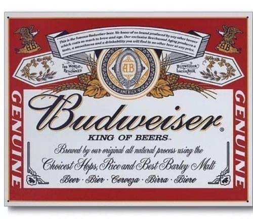 ShopForAllYou Vintage Decor Signs Budweiser Bud Beer Label Vintage Retro Can Advertising Anheuser Metal Tin Sign (Label Budweiser Sign Tin)