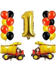 مجموعة بالونات عيد الميلاد على شكل شاحنة البناء من اليكدون بتصميم هندسي، بالون زينة عيد الميلاد الاول، بالون ذهبي اسود واحمر كبير، زينة حفل عيد ميلاد للاولاد (18 قطعة)