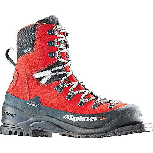 Alpina Sports Alaska 75 Leather 3 Pin 75 mm Backcountry Cross Country Nordic Ski Boots, Red/Black, Euro