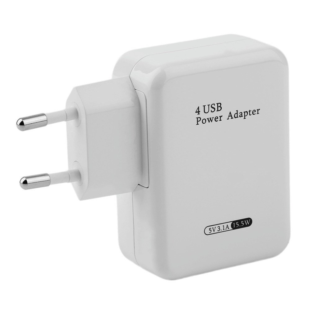 Chargeur Secteur 4 Ports USB - Prise Murale - Prise Adaptateur - 5V * 3.1A - Adaptateur Secteur USB Universel Entré e 100-240V - Blanc Universal ACEHE